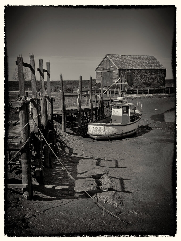 June open competition1st Monochrome Tides Out. The coal Barn Thornham Norfolk